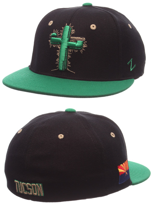 f4fb3d6d027  25.00 Flex Fit Game Hat of Tucson Saguaros. Black Hat with Kelly Green  Bill. ..more